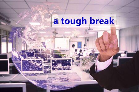 tough: touching  a tough break on virtual screen vintage tone , image element furnished by NASA