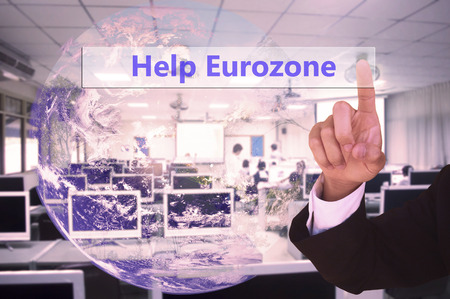 international crisis: touching   virtual screen  help urozone with vintage tone, image element furnished by NASA Stock Photo