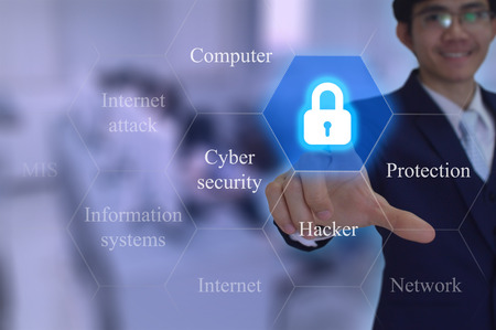 Cyber security  concept touched by a businessman on virtual screen
