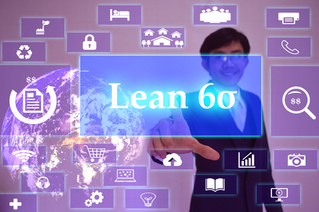 sigma: lean six sigma   concept  presented by  businessman touching on  virtual  screen ,image element furnished by NASA Stock Photo