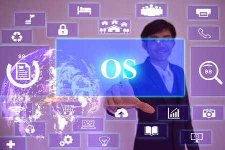 os: Operation System (OS) concept  presented by  businessman touching on  virtual  screen ,image element furnished by NASA
