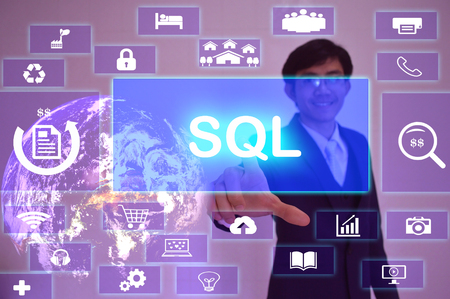 Sales Qualified Lead (SQL) concept  presented by  businessman touching on  virtual  screen ,image element furnished by NASA