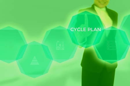 cycle plan concept presented by businessman touching on virtual screen
