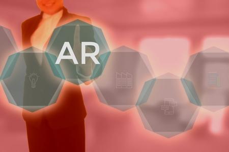 Augmented Reality (AR) technology 版權商用圖片