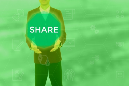 SHARE - technology and business concept Stock Photo