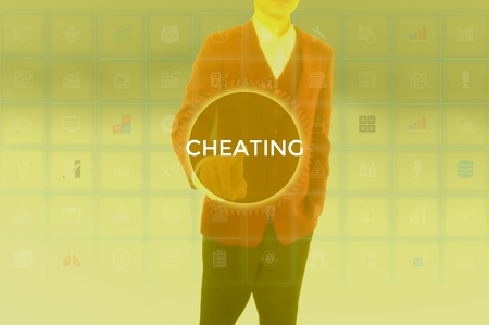CHEATING - technology and business concept Stock Photo