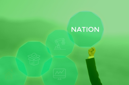 NATION - technology and business concept Stock Photo