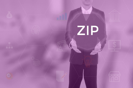 ZIP - technology and business concept Stock Photo