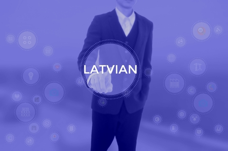 LATVIAN - technology and business concept Stock Photo