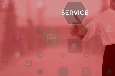 SERVICE - business concept presented by businessman Stock Photo