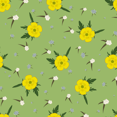 buttercups: Buttercups green and yellow seamless floral pattern. Vector template for your design