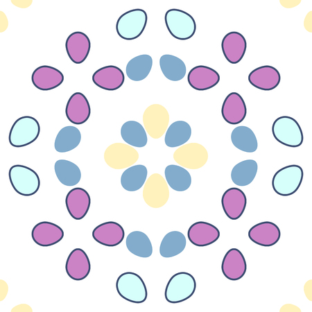 ovoid: Seamless geometrical pattern with ovoids in pastel colors on white background