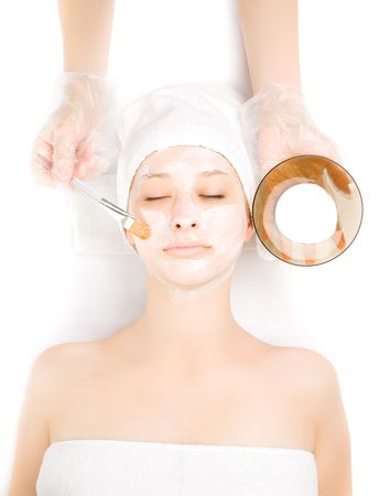 aging face: Picture of a girl at spa procedures