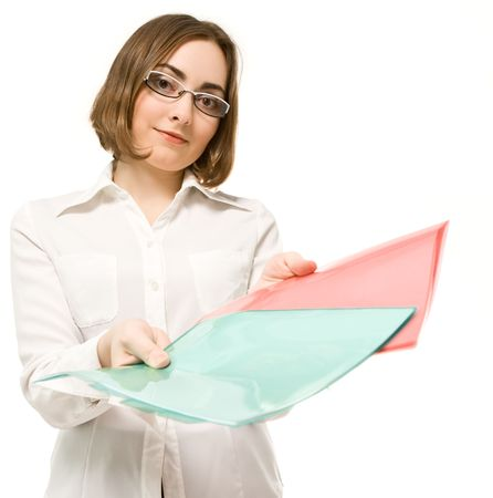 Picture of a girl in white offering green and red folders Stock Photo - 6360895