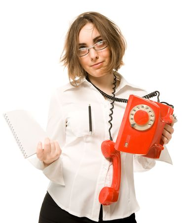Stressed businesswoman with telephone and notebook Stock Photo - 6360886