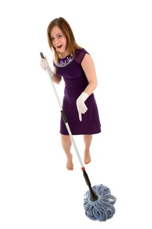 violet residential: Beautiful girl in party dress and gloves holding swab Stock Photo