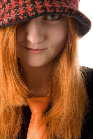 Portrait of a red haired girl in knit hat Stock Photo - 6366531