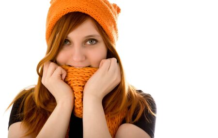 Red haired girl in knit hat Stock Photo - 6366610