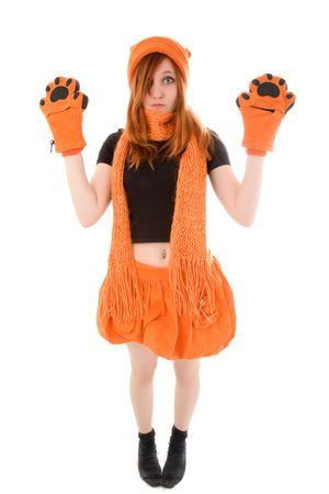 Red haired girl in knit hat and kitten gloves Stock Photo - 6366678