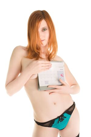 Beautiful nude girl with calendar Stock Photo - 6444931