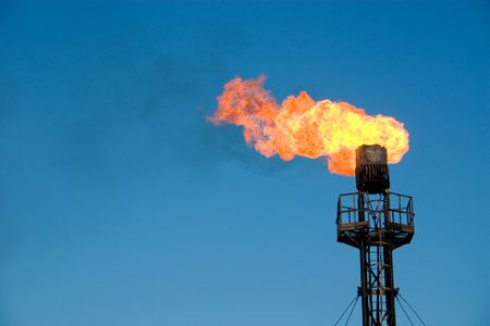 Burning oil gas flare photo