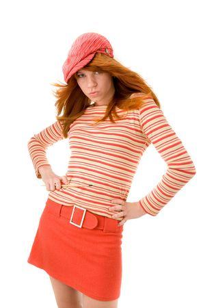 red haired girl: Bella ragazza dai capelli rossa con pennello  Archivio Fotografico