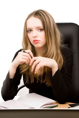 appointee: Young businesswoman with notebook in the office