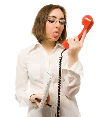 Picture of secretary showing tongue to the handset photo