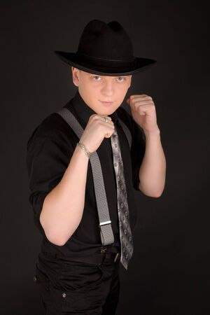 Young man in black boxing Stock Photo - 6720132