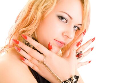 Beautiful girl with large red nails Stock Photo - 6720129