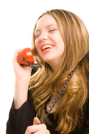 Beautiful businesswoman calling on phone and laughing photo