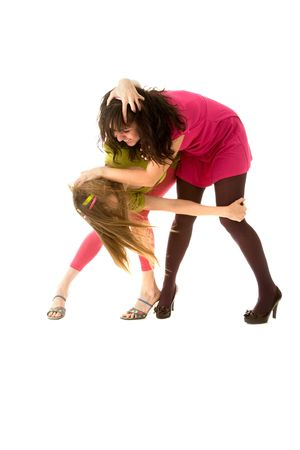women fight: Two funny girls fighting and laughing Stock Photo
