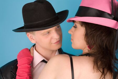 Woman in pink hat   and a man in black hat Stock Photo - 6727730