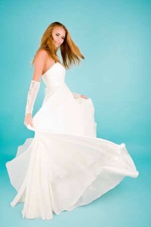 Beautiful bride in wedding dress smiling Stock Photo - 6727707