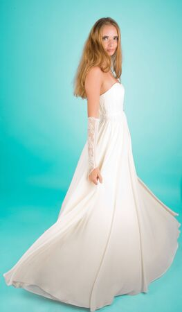 Beautiful girl in wedding dress looking to the camera Stock Photo - 6758411