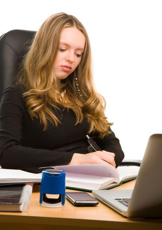 Young businesswoman writting in notebook Stock Photo - 6758418