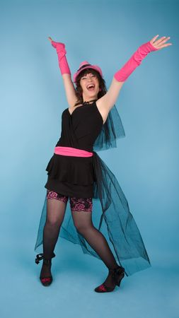 Woman in black dress with pink hat screaming Stock Photo - 6869513