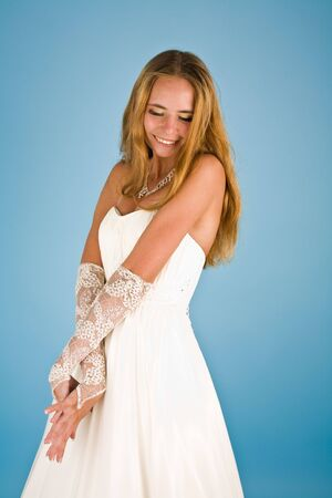 Picture of a beautiful  bride with jewelry smiling Stock Photo - 6869552