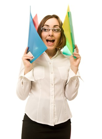 Young businesswoman holding colorful folders photo