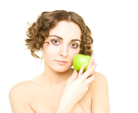 Girl holding an apple photo