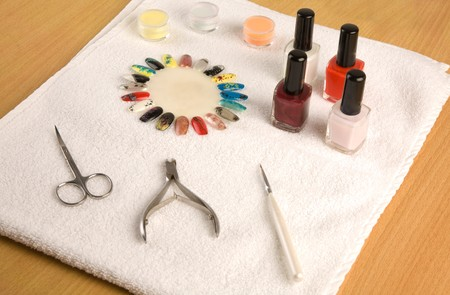 Set of manicure on the desk Stock Photo - 7087434