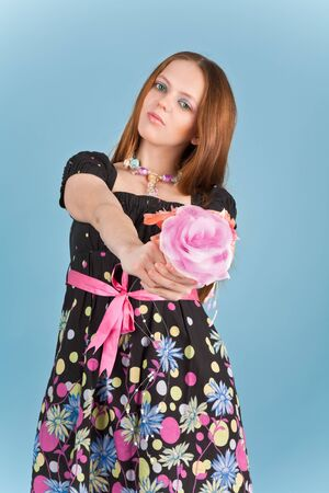 Picture of a woman with artificial roses Stock Photo - 7271436
