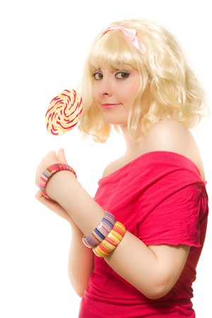 Blond woman in wig with lollipop Stock Photo - 7271448