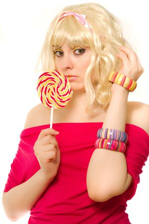 Blond woman in wig with lollipop Stock Photo - 7271440