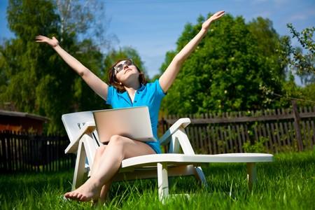Woman enjoying the sun outdoors Stock Photo - 7271454