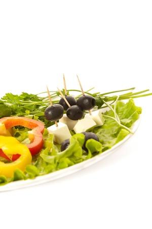Ingredients of greek salad closeups photo