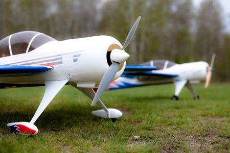 hobbyist: airplane models Stock Photo