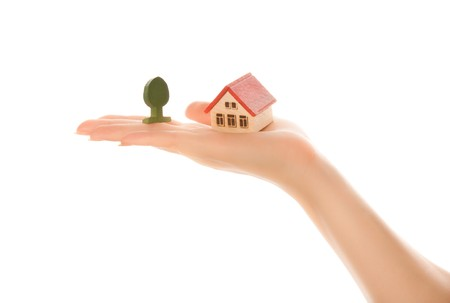 Woman hand with a little house and tree Stock Photo - 7356523