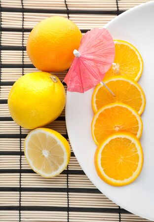 A plate of cutting orange and other citrus Stock Photo - 7356639