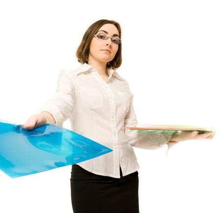 Picture of a secretary reaching a blue folder Stock Photo - 7421982